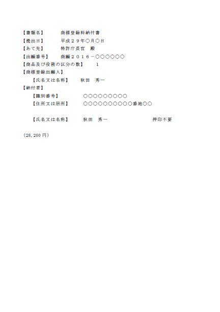 商標登録料納付書イメージ画像