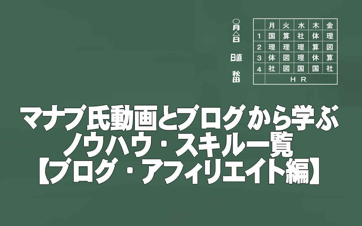 マナブ氏の動画・ブログから学ぶノウハウ・スキル一覧イメージ画像